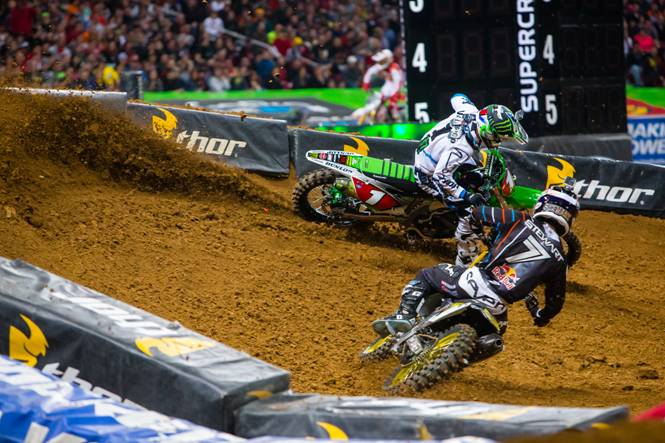 Villopoto and Stewart battling the 450SX Main Event